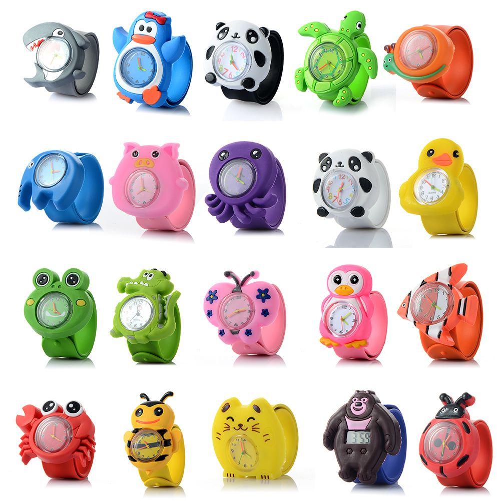 الجملة 3D 16 الحيوانات شكل لطيف للأطفال كارتون ووتش الطفل سيليكون كوارتز ساعة اليد طفلة بوي أكثر حميمية هدية العيد