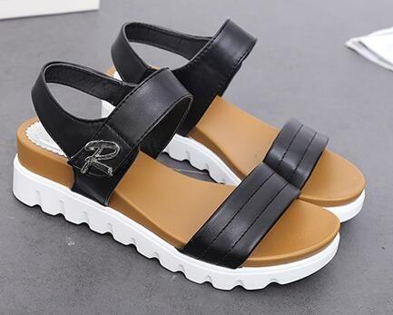 Compensées été sandales femmes nouveau glissement de HOOKLOOP à bout ouvert sandales femmes, sandales étudiants classiques sandales femmes plates 35-42