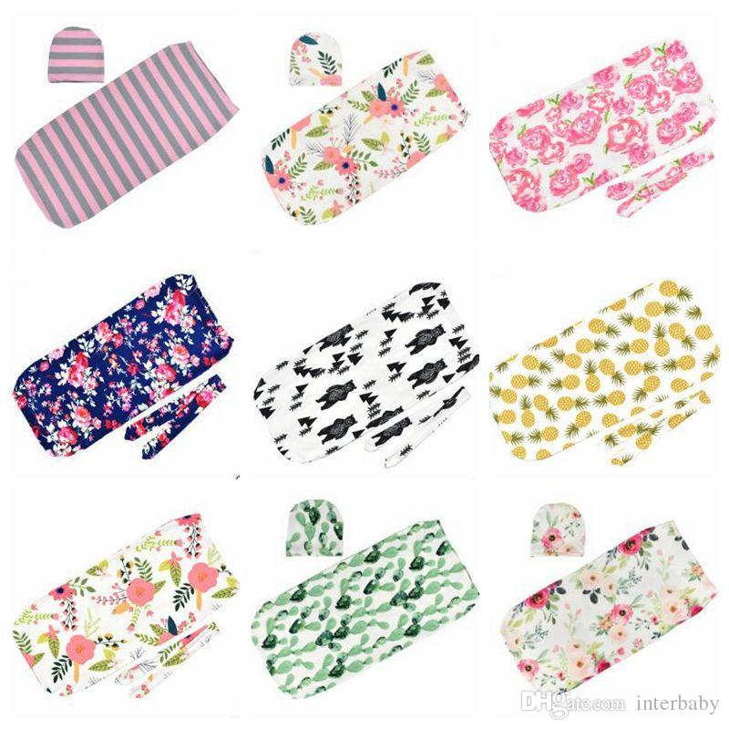 Baby Designer Clothes Girls Swaddle Blankets Cocoon Sack Toddler Sleeping Bags Muslin Swaddling Wrap Headband Hats Photo Props Gifts B4712
