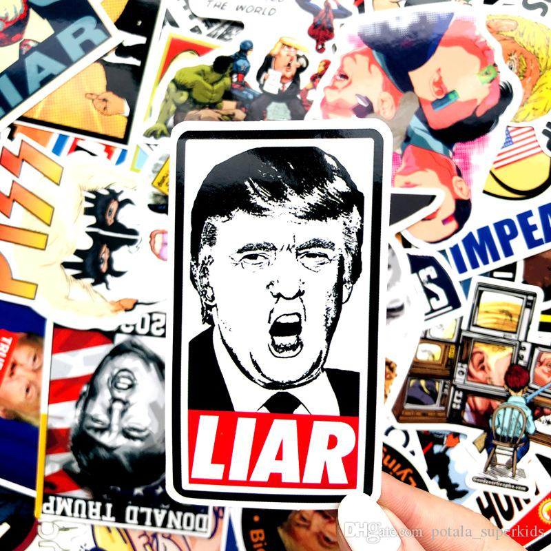 55PCS/Pack President Donald Trump Refridgerator Fridge Stickers Funny Scribble Skateboard Suitcase Waterproof Paster for Home Kitchen
