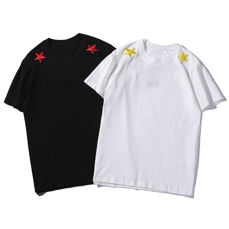 19SS Mens Stylist-T-Shirt Bequeme Baumwollfrauen beiläufige kurze Hülsen-Herren Rundhals Sport-T-Shirts Schwarz Weiß Größe S-2XL