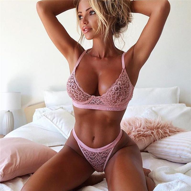 New Lingerie Lace Bra G-string Thong Set Babydoll Sleepwear Underwear Nightwear//