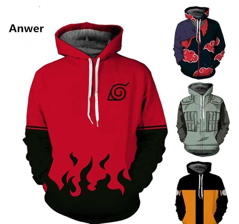 Naruto Akatsuki Cosplay Pullover Sweatshirt Hoodie Cloud Printed Red Jacket