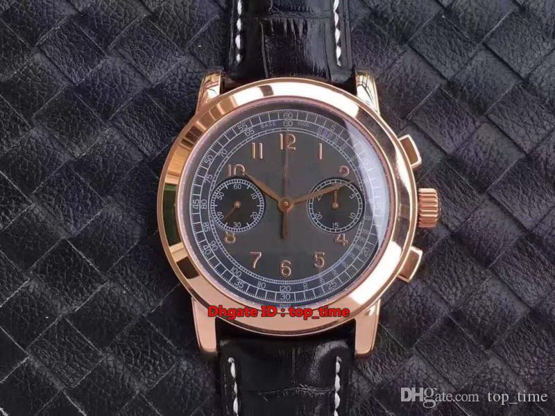 7 estilo melhor relógio Complicações manual Chronograph ETA7750 Vento Mecânica Mens Watch 5070R Rose Gold couro pulseira Gents Relógios
