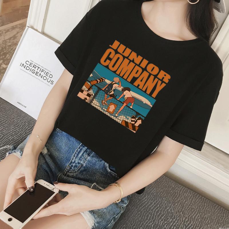 2019 летнее платье вокруг шеи письмо печати рыхлый тонкий с короткими рукавами футболки рубашки студента женщин прилив Y200109