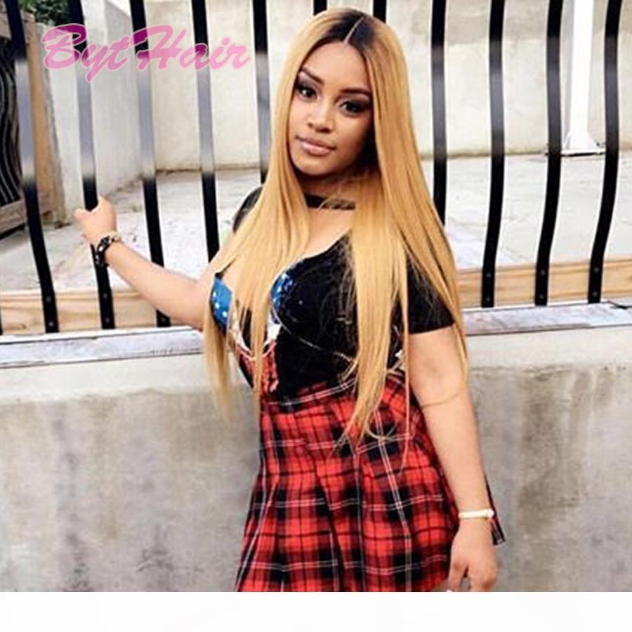 Cabelo Bythair Virgin Humano perucas completas do laço Hetero Ombre 1b 27 cores brasileiro Lace cabelo Long Front perucas para mulheres negras