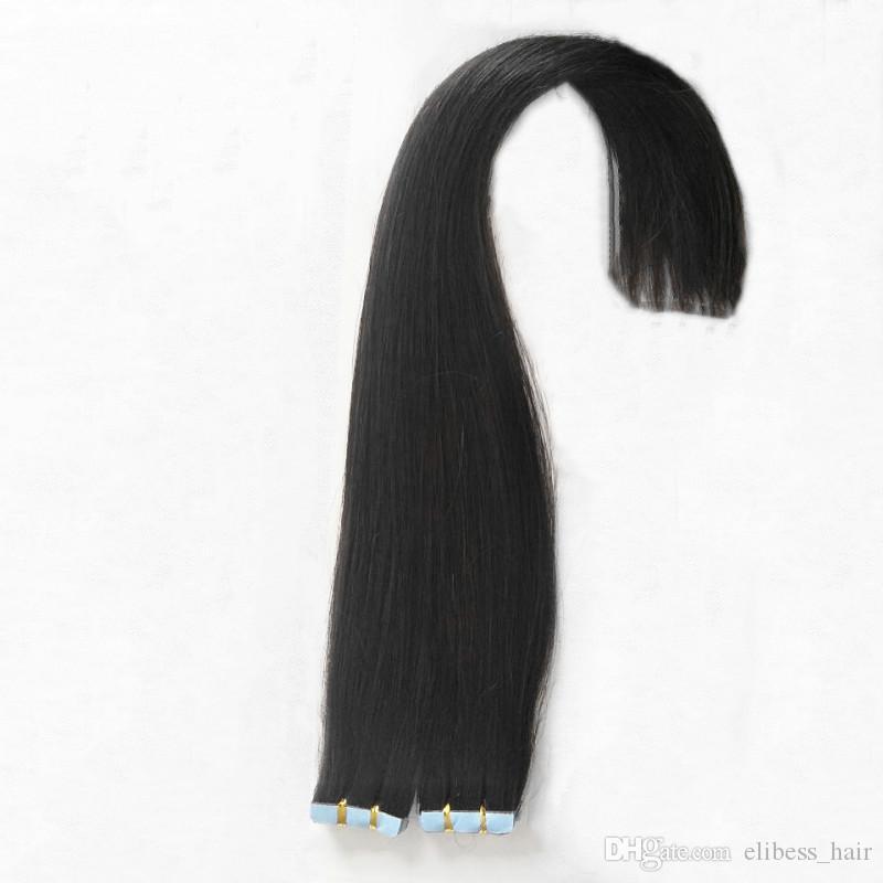 Natürliche Farben-Haut-einschlag Pu Band in Haarverlängerungen 14 ~ 26 Zoll 100% brasilianischen Menschenhaar-Verlängerung 80Gram 100 Gramm otions Kostenloser Versand