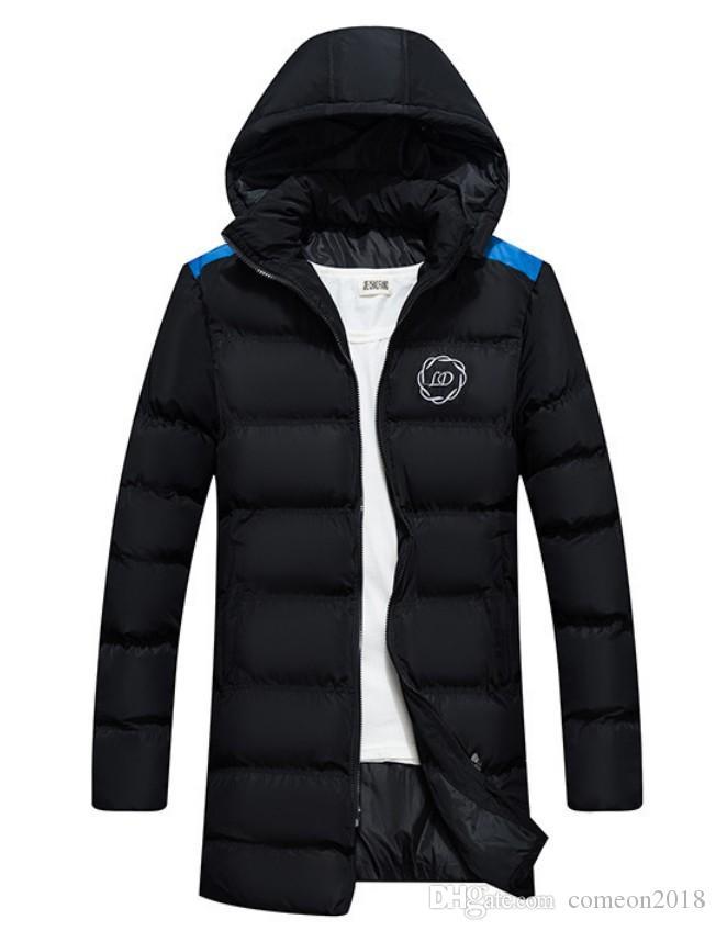 Mode Daunenmantel Reißverschluss schwarzer Winter britischer Stil Männer Daunenjacke mit Kapuze klassischen Mantel warm halten Thick Parka S-XXL