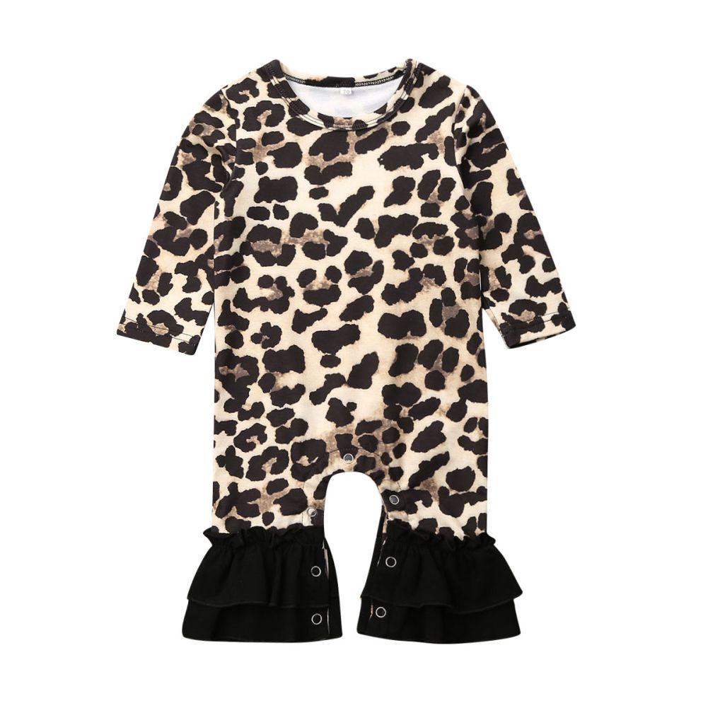 Una pieza del bebé recién nacido ropa de la muchacha del otoño volante leopardo mameluco del mono de manga larga traje general