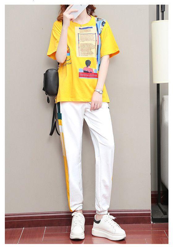 calidad de las señoras 2020 pantalones conjuntos altas tapas + pantalones 2pcs de la ropa conjuntos casuales de la moda de primavera y verano 3JSI