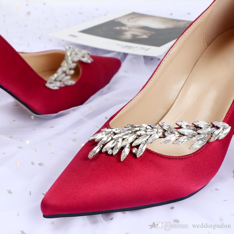 حار بيع بلورات خنجر كعب حذاء الزفاف الحرير للعروس مصمم النساء الكعوب مدبب تو الراين سيدة مضخة