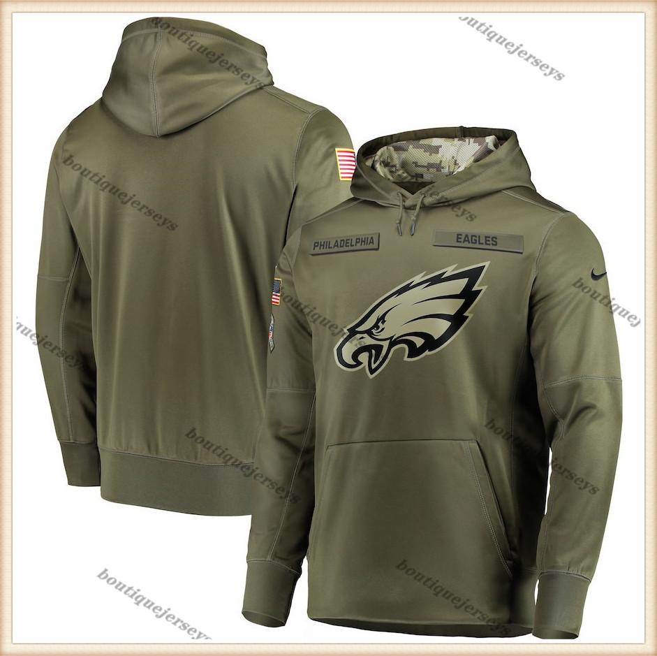 Men PhiladelphiaEaglesOlive Salute to Service Sideline Therma Performance Pullover Hoodie Outdoor Sports