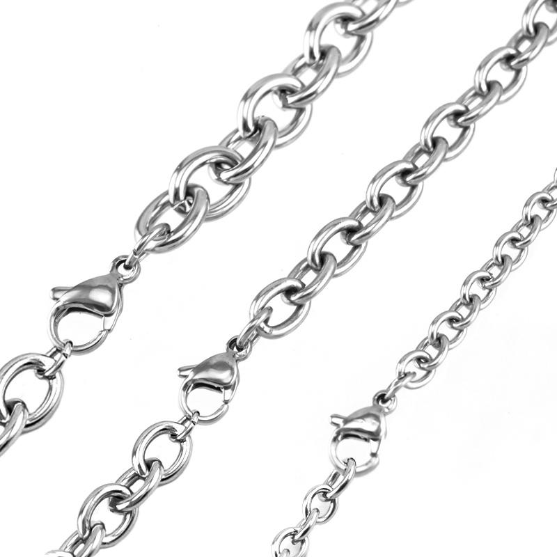 100% Stainless Steel 4/6/8mm Width Rolo Chain Bulk DIY Link Chain Necklace For Jewelry Making High Quality Wholesale 10pcs