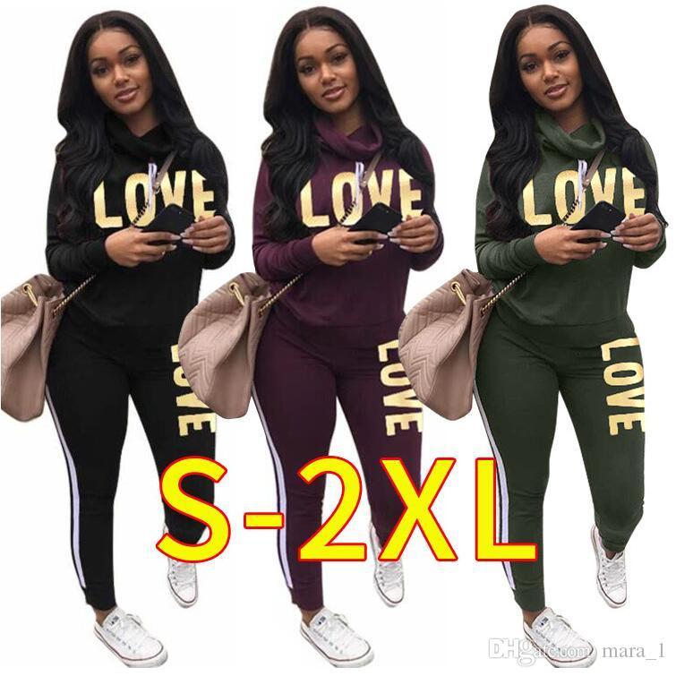 LOVE Women turtle neck outfits hoodie leggings designer track suit sweatshirt pant 2 piece set sportswear bodycon tights pullover sweatsuit