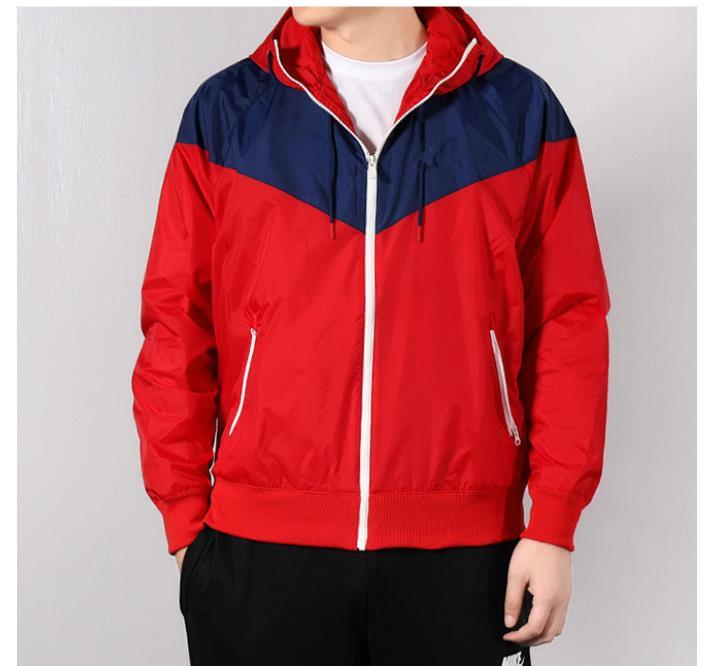 Мужчины Дизайнерской Ветрокрылой куртка весна осень спорт с капюшоном цвета заплатка конструктора куртка ветровка