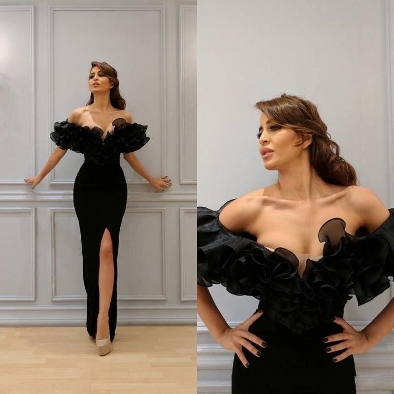 Gothic Black Muslim Evening Dress 2020 Mermaid Off the Shoulder Short Sleeves Organza Ruffles High Slit Islamic Dubai Saudi Long Prom Gowns