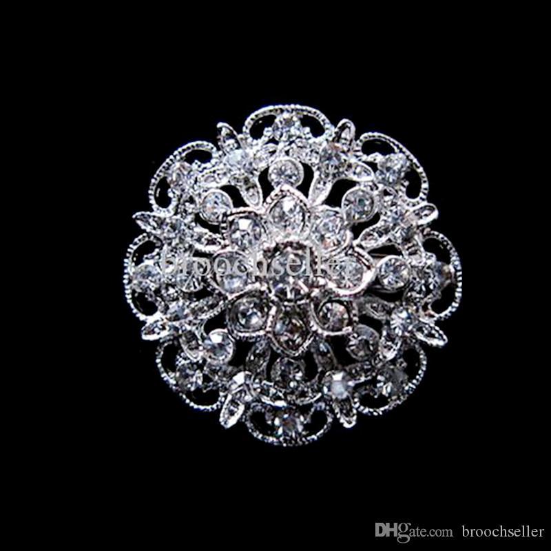 Hermosa plata plateada pequeña flor Rhinestone cristal collar broche