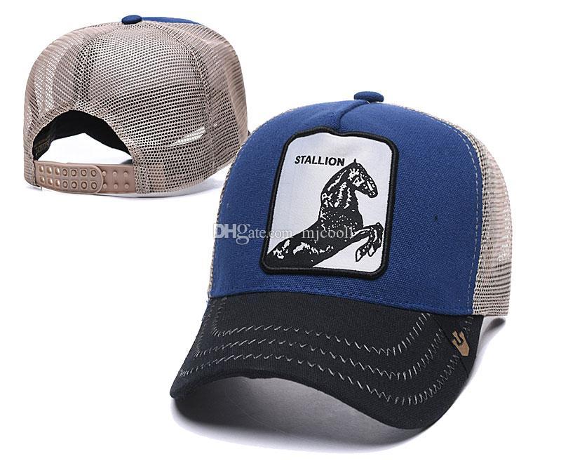 Sommer-Netzkappen Mode Visor Netz Hutfrauen Männer Pferd Stickerei Baseballmütze Einstellbare Snapback Tiere Hat Golf-Ball-Kappe