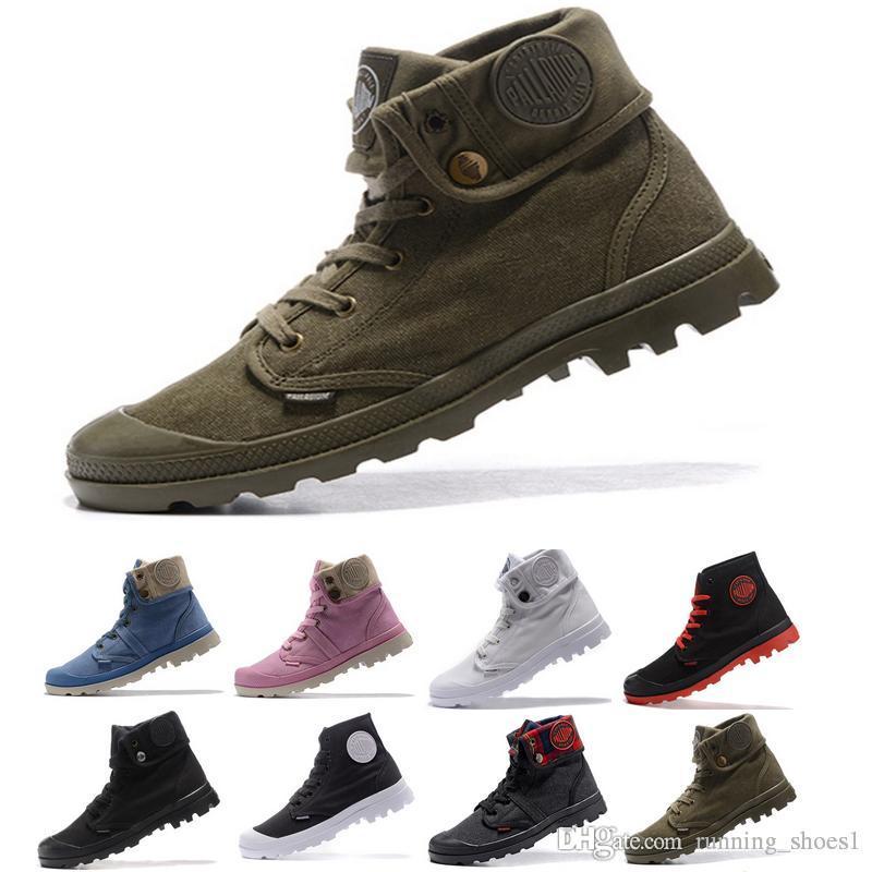 Acheter Palladium Boot Pallabrouse Haute Armée Militaire Cheville Hommes Femmes Bottes Toile Sneakers Homme Extérieur Concepteur Anti Slip Chaussures
