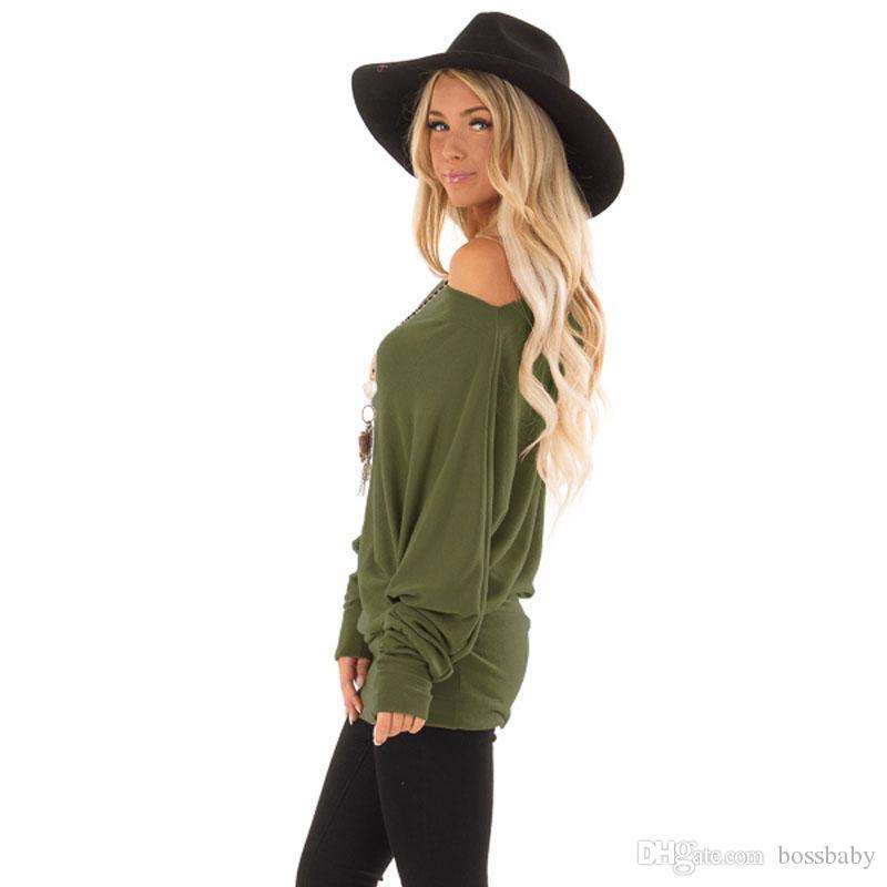 Femmes Encolure T-shirt Automne solides manches longues Casual Hauts femmes Vêtements Lady Tops 07