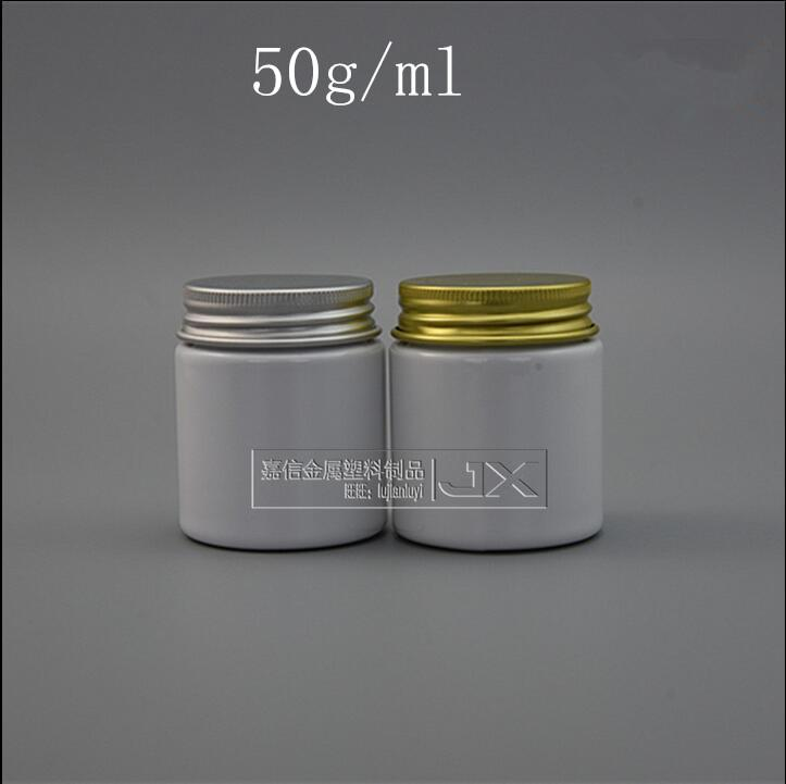 Free Shipping 50g/ml White Plastic Bottle Jar Golden Silver Aluminum Screw Lid Cream Loticn Bati Salt Pill Candy packing Jar