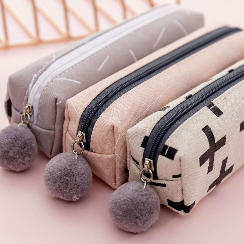 Plush Ball Zipper Pencil Case for Girls Cute Canvas Cosmetic Bag Pen Bag Stationery Pouch Box kids Gift Office School Supplies