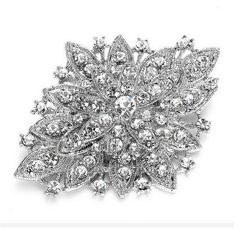 Chapado en plata de la vendimia del Rhinestone claro cristal grande Diamante broche de la boda ramo de flores Pin 11 colores disponibles