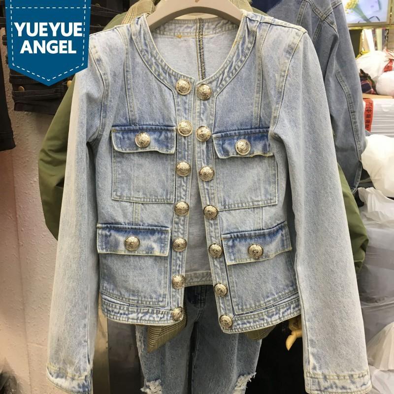 Moda O-Collo maniche lunghe Jean rivestimento delle donne Vintage lavato metallo monopetto Breve denim Coat Light Blue Slim Outerwear