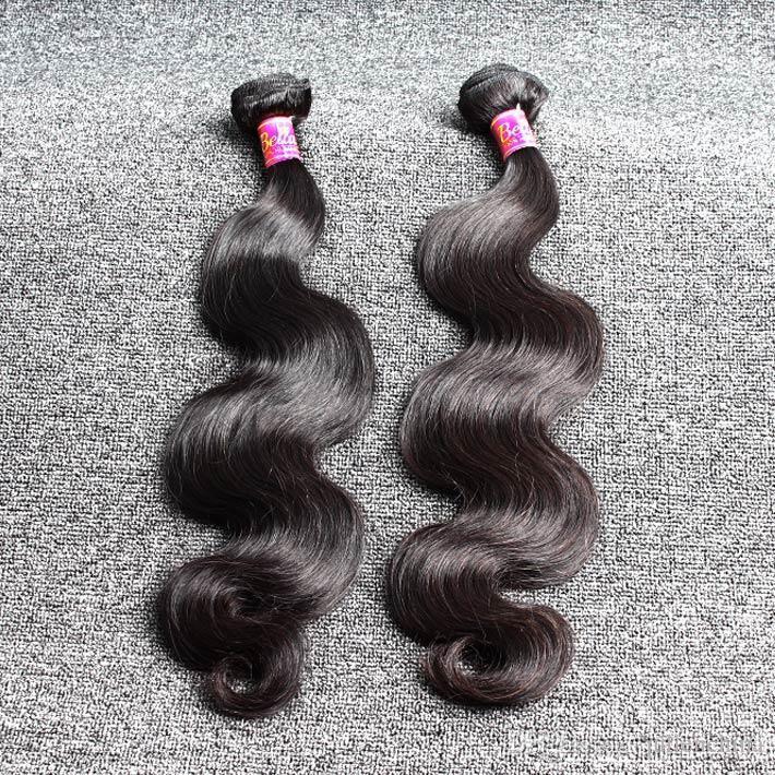 Venta caliente de Mongolia 3 Bundles de pelo Negro Color natural del pelo humano teje 8 '' ~ 30 '' ondulado de la onda del cuerpo del pelo de envío libre de Bella
