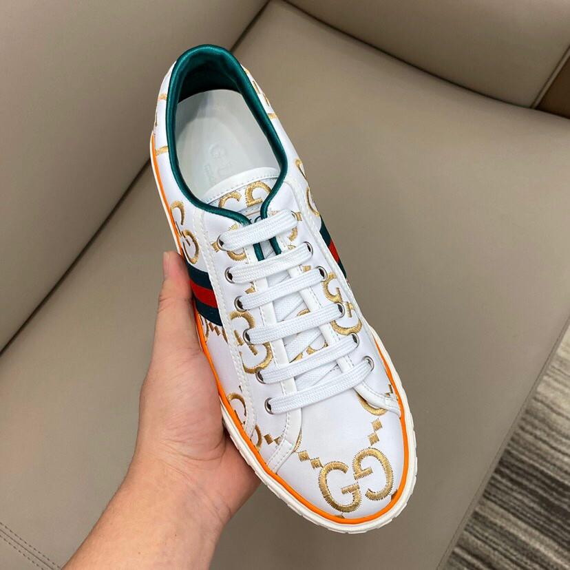 2020 новый дизайнер обуви мода роскошные женские туфли мужская печать кожа зашнуровать платформа негабаритных подошва кроссовки белый черный Повседневная обувь Rd578