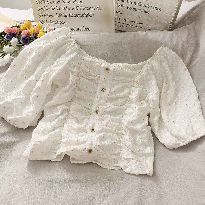 Лето 2020 Daisy печатных шифон рубашка Puff рукавом рубашки Натяжные Женщины Топы