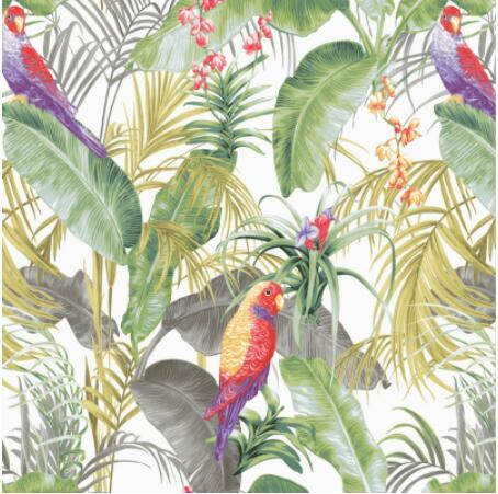 Green Banana Leaf Tropical Wallpaper Modern Art Floral And Birds