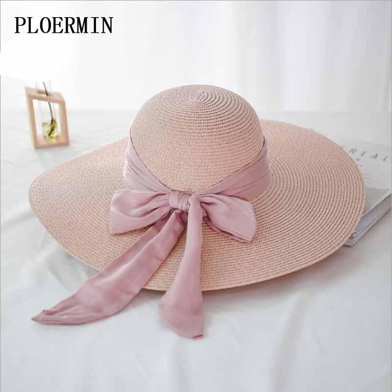 Elegante playa de protección solar sombreros de verano sombrero de paja plegable Moda Mujeres grande del arco-nudo Cap viajes de vacaciones Sombrero de sol Chapeau Mujer