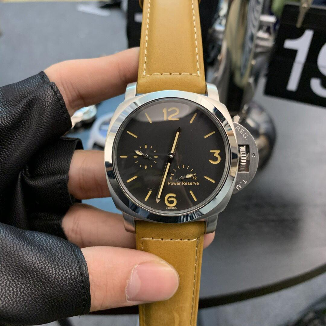РАМ Роскошные мужчины часы Автоматическое движение 44mm кожаный ремешок для мужчин водонепроницаемые наручные часы Повседневная Наручные часы Мужские часы из нержавеющей стали