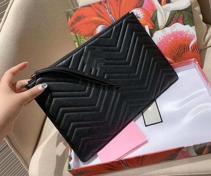 5A 품질 핸드백 클러치 백 패션 진짜 가죽 가방 지갑 지갑 가방 상자 및 먼지 가방