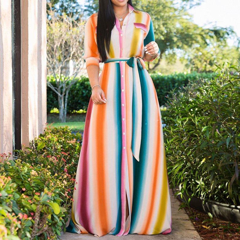 Gökkuşağı Çizgili Uzun Elbise Kadınlar 2020 Yeni Geliş Şık Afrika Bayanlar Yaz Artı boyutu Casual Robe Vintage Gömlek Maxi Elbiseler