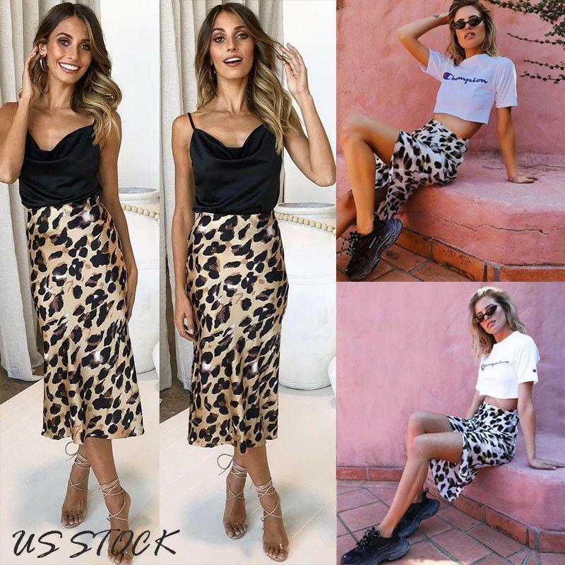 Wear US Moda Mulheres Sexy Leopard Print Wrap Party cintura vestido saias longas alta