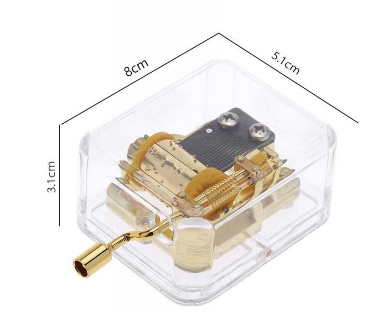 Venda quente única Movimento Musical Box Acrílico Mão Crank Music Box Golden Castle Melody nos 150pcs Sky Presente criativo ARTware
