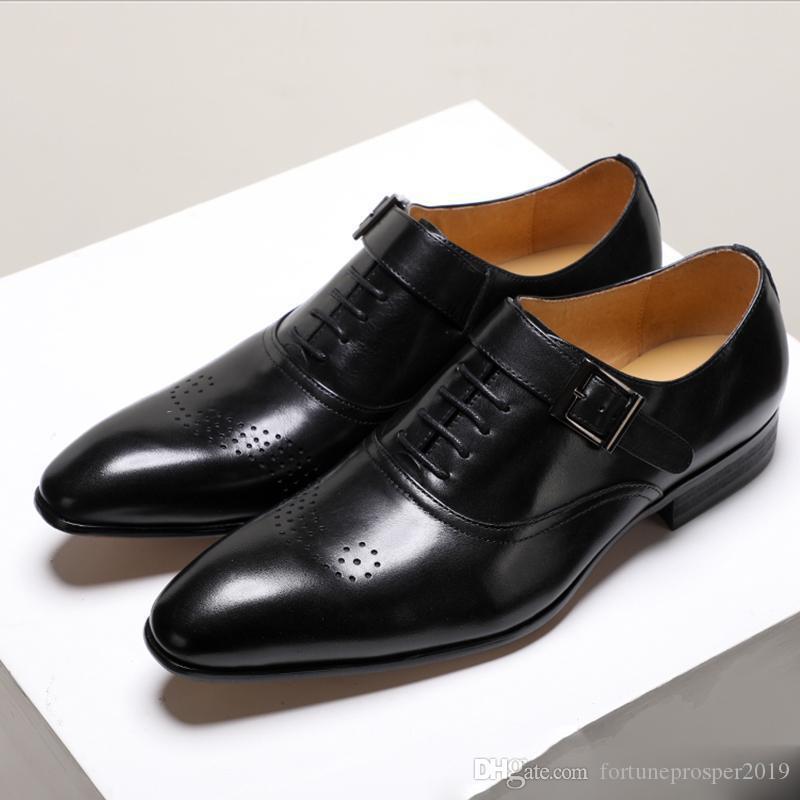 мужской формальной обувь подлинных ботинок кожаных OXFORD для мужчин итальянской 2019 платья обуви пряжки кожаных башмаков