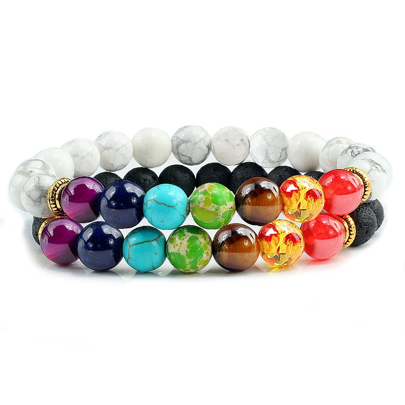2 Pcs / set Pedra Natural Beads 7 Chakra pulseiras moda jóias presente para as mulheres Homens Casal Distância Cura Yoga Oração Pulseira