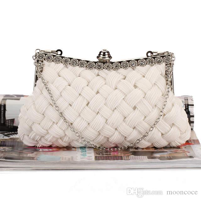 Elegant Women Evening Weave Handbag Party Bridal Make Up Clutch Purse Shoulder Cross Body Bag
