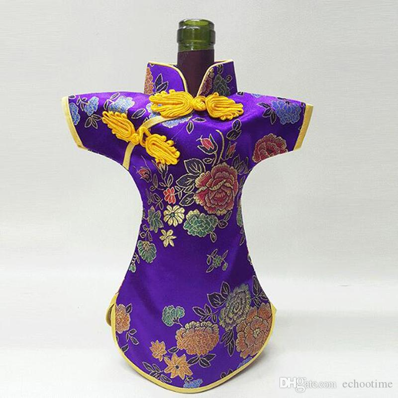 Echootime 50PCS Luxury Cheongsam Wine Bottle Bag Cover Bottle Packaging Gift Bags Chinese Silk brocade Table Decoration Wine Clothes