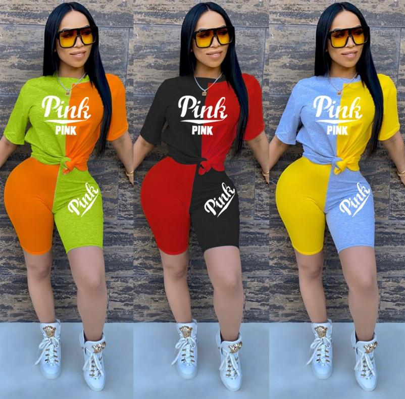 Womens sportswear tracksuit short sleeve shorts outfits 2 piece set jogging sport suit sweatshirt summer tights sport suit klw3457