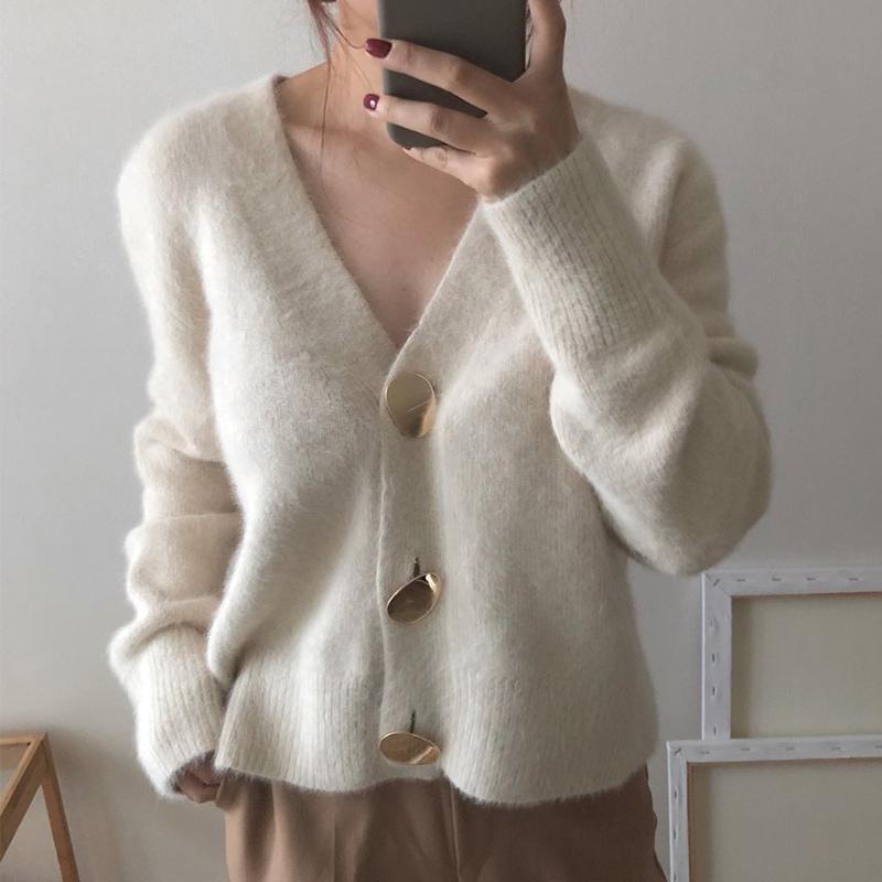 Botón de invierno con cuello en V Cardigan Mujeres Jersey de punto Jersey rebecas Mujer grande de oro de otoño 2019 de Corea suéteres para las señoras