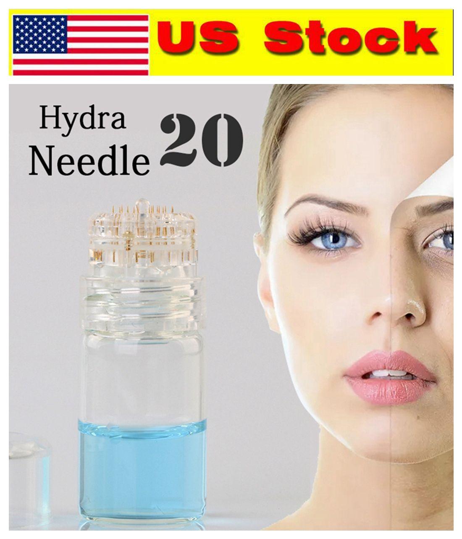 US Stock! 20 Pin Hydra Needles Microneedles Applicator Bottle Serum Injection Reusable Skin Care Rejuvenation Anti-Aging Pigment Wrinkle CE