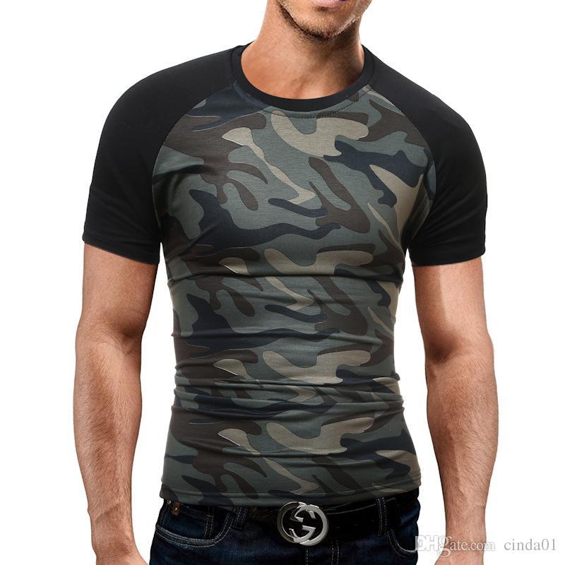 Tshirt da uomo Homme girocollo in cotone traspirante Camouflage New Summer Style Casual Tops Camicia semplice alla moda