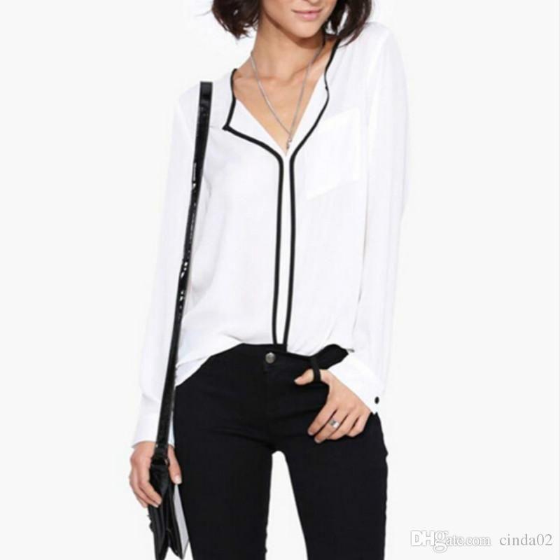 Новый летний стиль мода женская повседневная белая рубашка с длинным рукавом черная сторона шифоновая блузка с v-образным вырезом рабочие рубашки женские