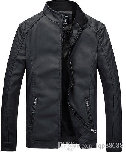 Abbigliamento da uomo autunno più pelle di velluto Colletto collo coreano versione Sottile pelle moto pelle Capispalla giacca