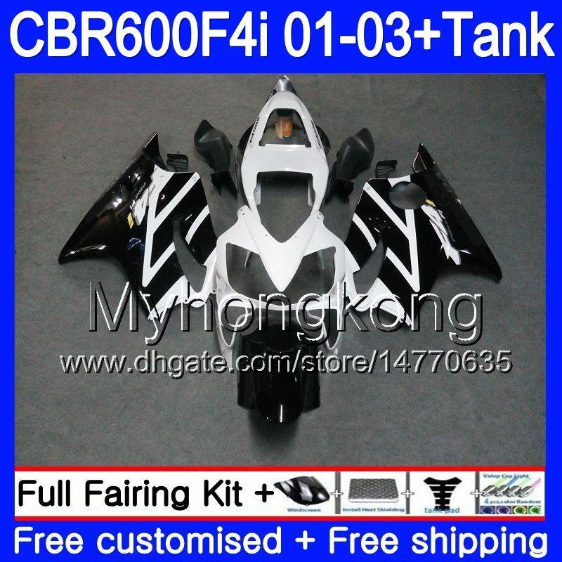 Cuerpo + tanque para HONDA CBR 600F4i CBR600FS CBR600F4i 01 02 03 286HM.55 CBR600 F4i 600 FS CBR 600 F4i 2001 2002 2003 Negro Blanco caliente Carenados
