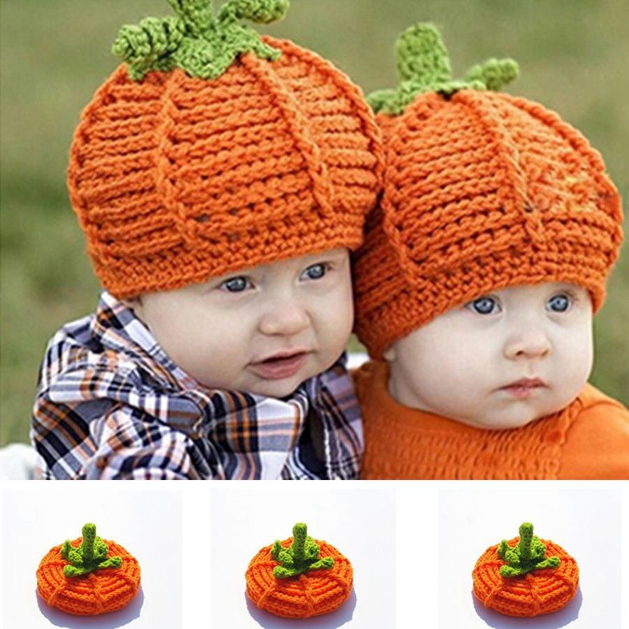 Cute Kids Pumpkin Knitted Hat Fashion Winter Warm Soft Children Crochet Beanies Caps Halloween Party Photography Props Cap TTA1799